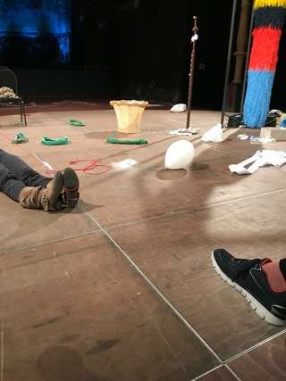 """Liquid Words"",  Performance workshop with Angelika Waniek, Schaubühne Lindenfels, Leipzig, January 2019"